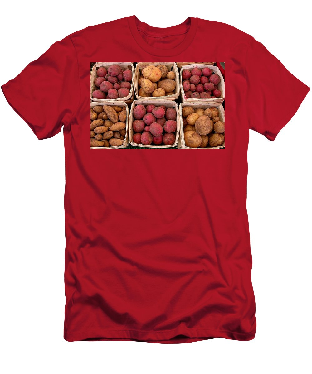 Market Potatoes Men's T-Shirt (Athletic Fit) featuring the photograph Farm Potatoes by Cynthia Wallentine