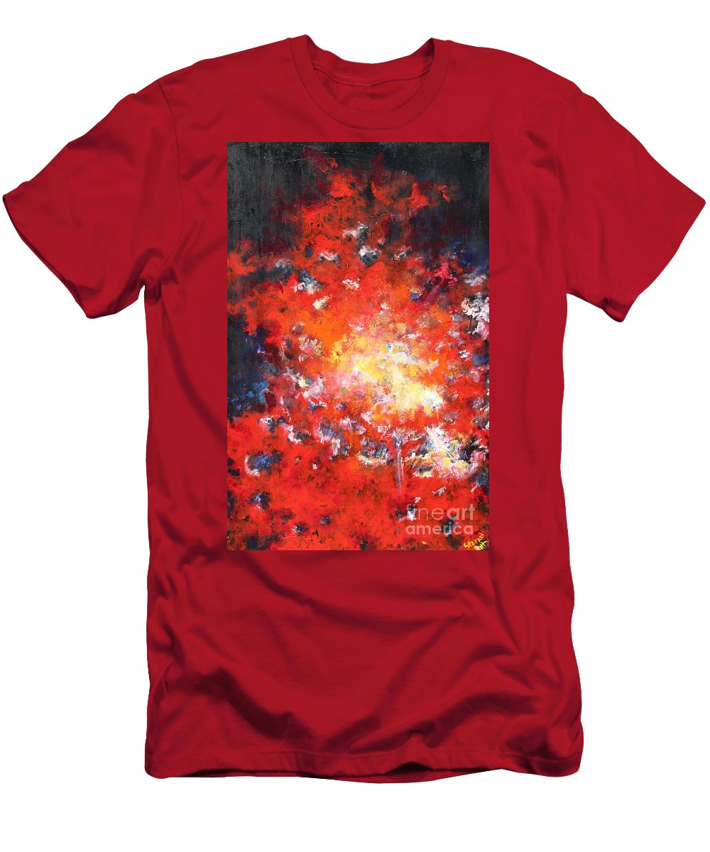 Fire In Sky Men's T-Shirt (Athletic Fit) featuring the painting Fire Blazing In The Sky by Stefan Duncan