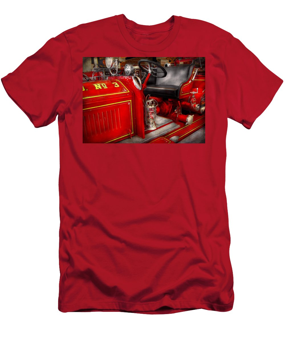 Savad Men's T-Shirt (Athletic Fit) featuring the photograph Fireman - Fire Engine No 3 by Mike Savad