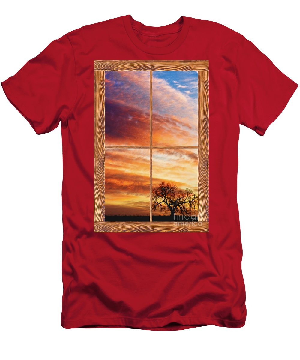 Sunrise Men's T-Shirt (Athletic Fit) featuring the photograph First Dawn Barn Wood Picture Window Frame View by James BO Insogna