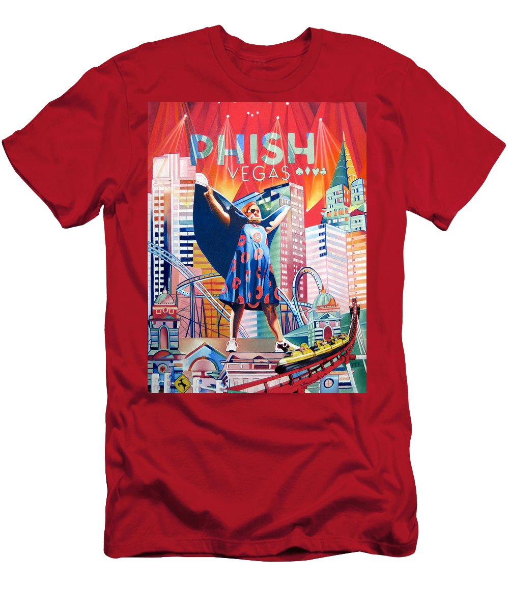 Phish Men's T-Shirt (Athletic Fit) featuring the drawing Fishman In Vegas by Joshua Morton