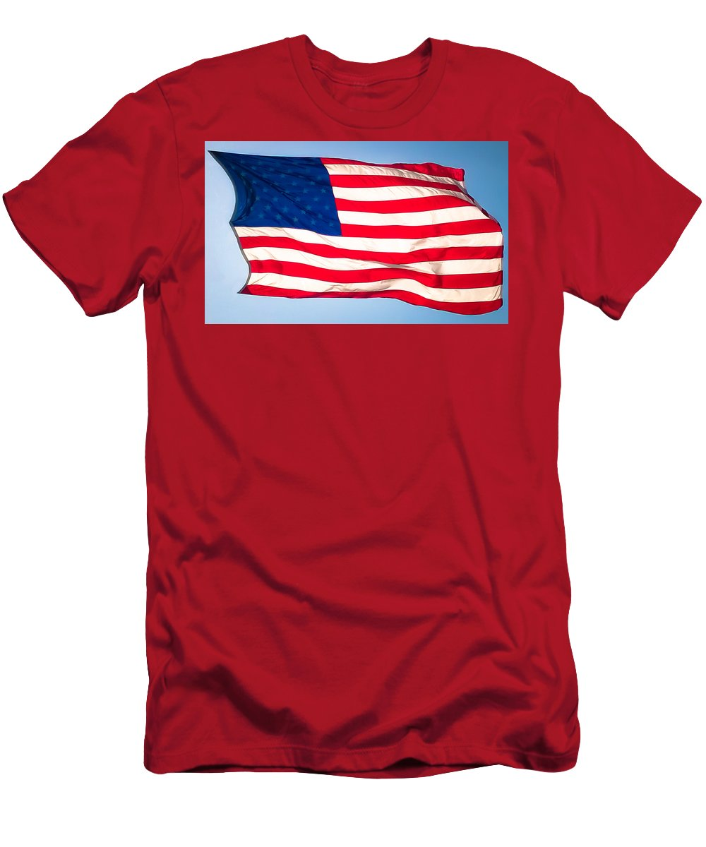 Us Flag Men's T-Shirt (Athletic Fit) featuring the photograph Flow Of Freedom by Karen Wiles