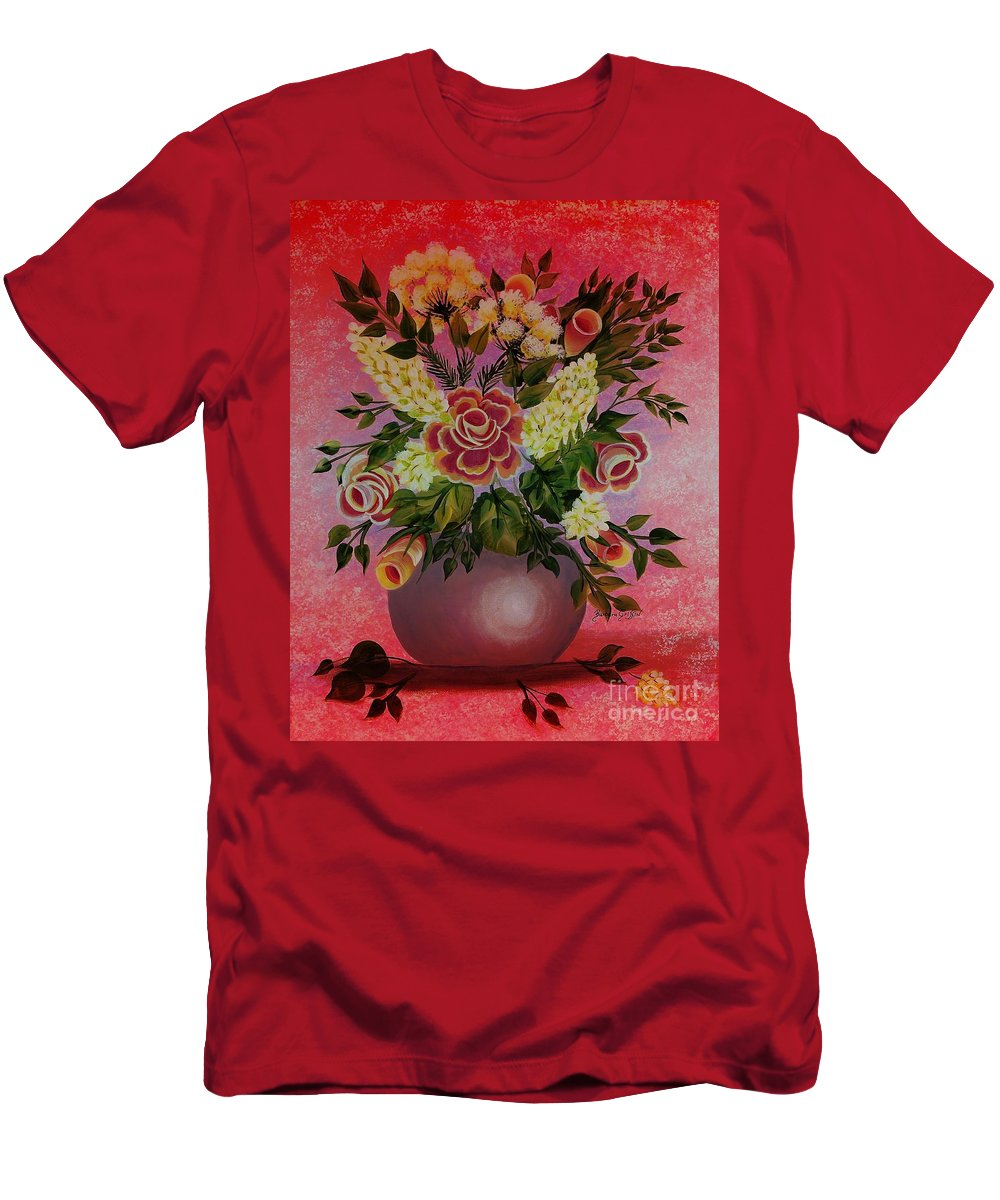 Flowers With Red Background Men's T-Shirt (Athletic Fit) featuring the painting Flowers With Red Background by Barbara Griffin