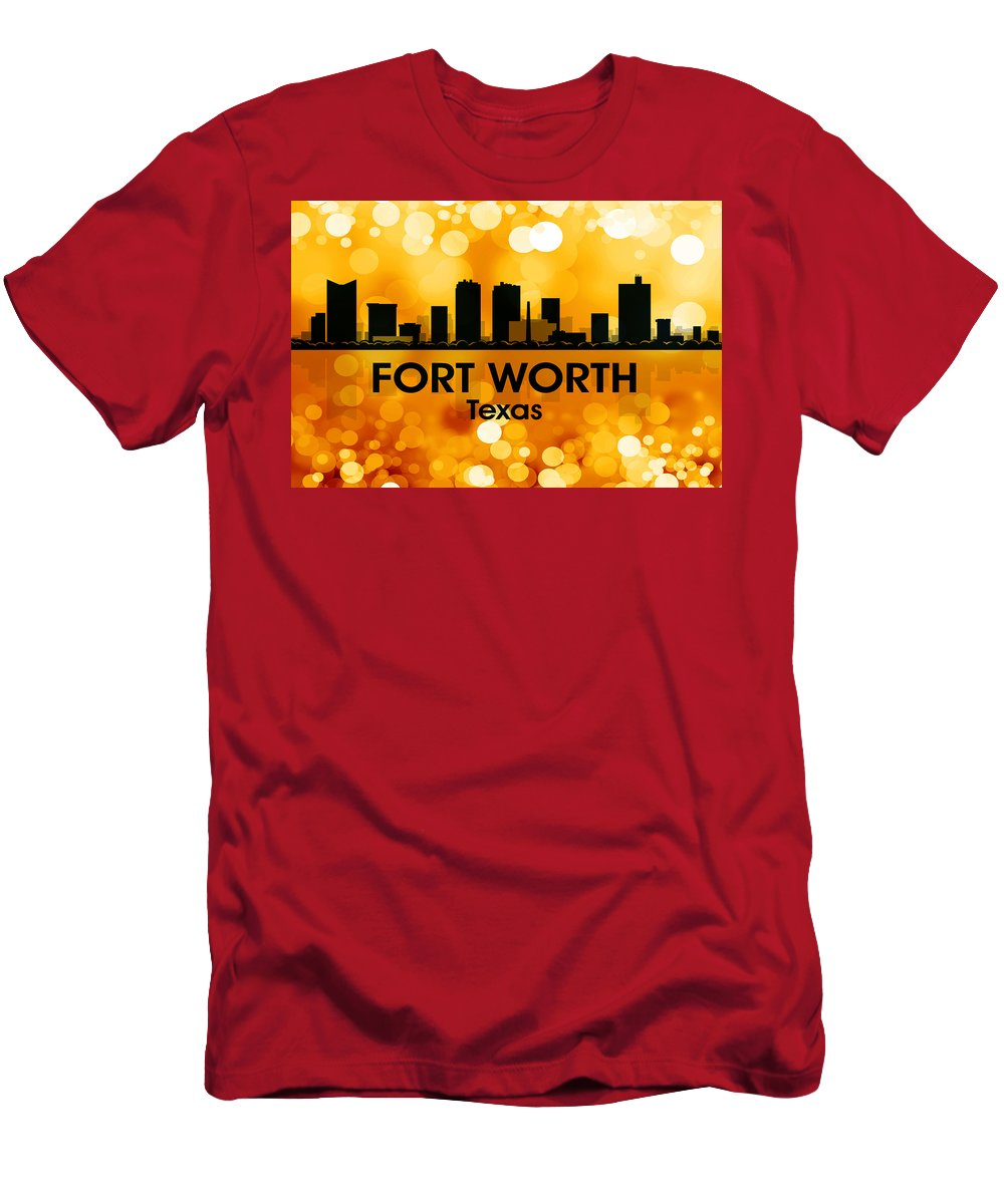 Fort Worth Men's T-Shirt (Athletic Fit) featuring the mixed media Fort Worth Tx 3 by Angelina Vick
