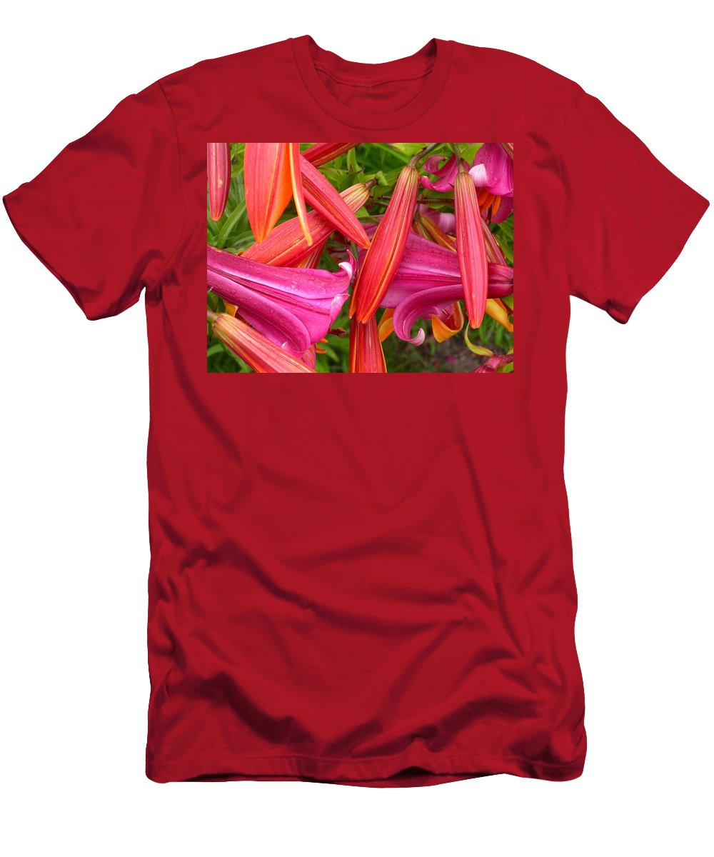 Lilium Amethyst Temple And L. Copper King Men's T-Shirt (Athletic Fit) featuring the photograph Friends In The Garden by Cynthia Wallentine