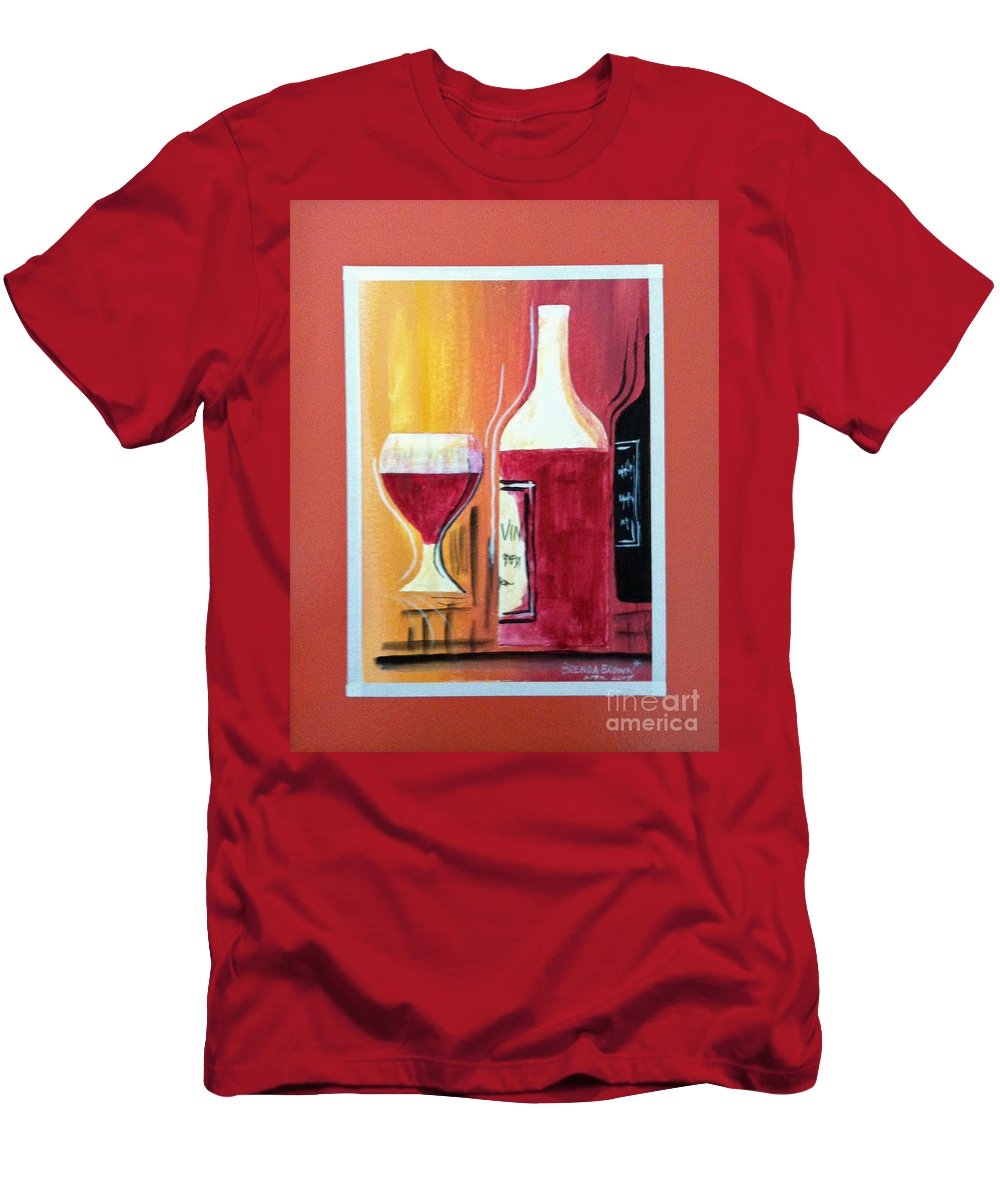 Wine Men's T-Shirt (Athletic Fit) featuring the painting Fun Wine Time by Brenda Brown