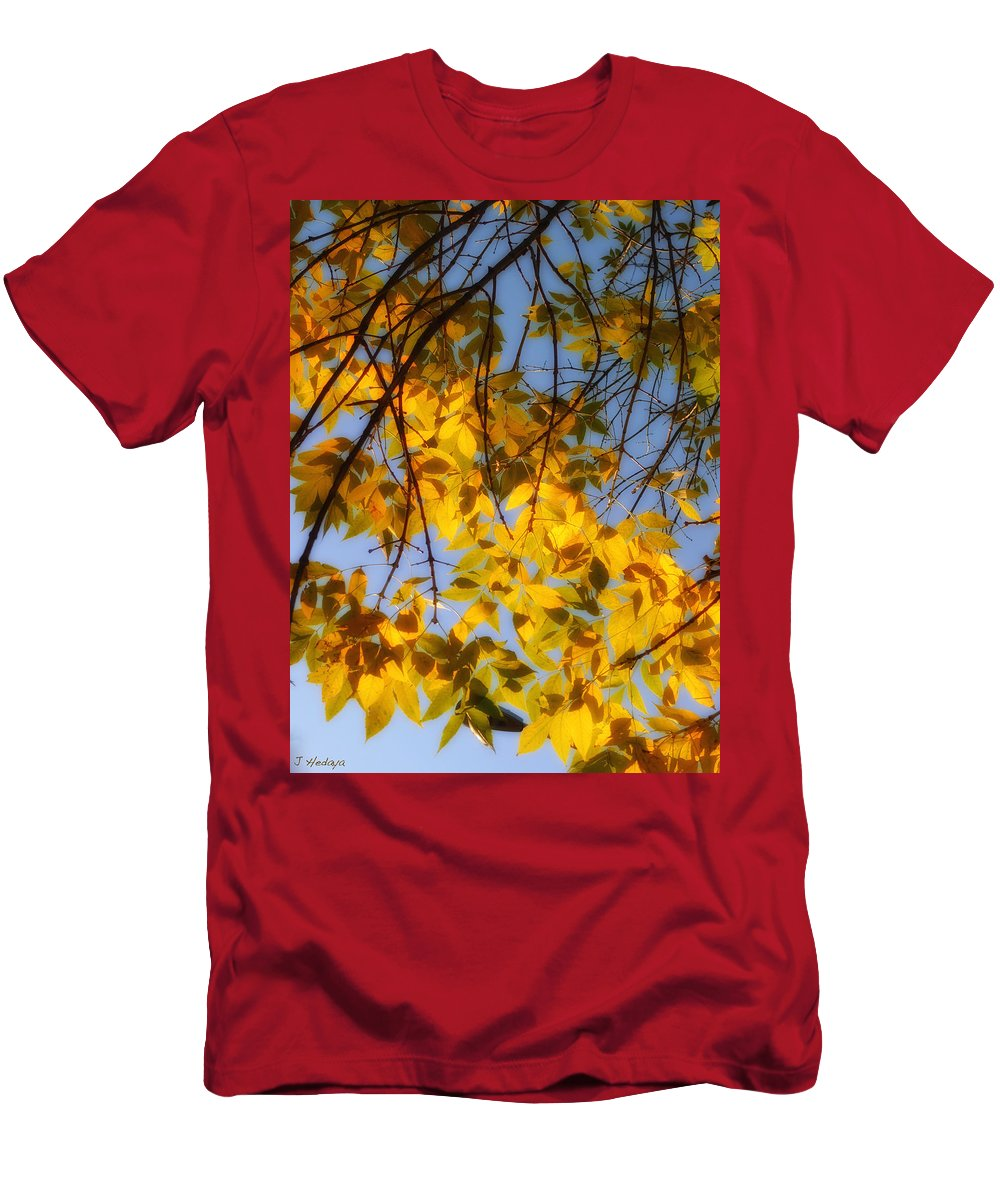 Fall Men's T-Shirt (Athletic Fit) featuring the photograph Golden Leaf Cascade by Joseph Hedaya