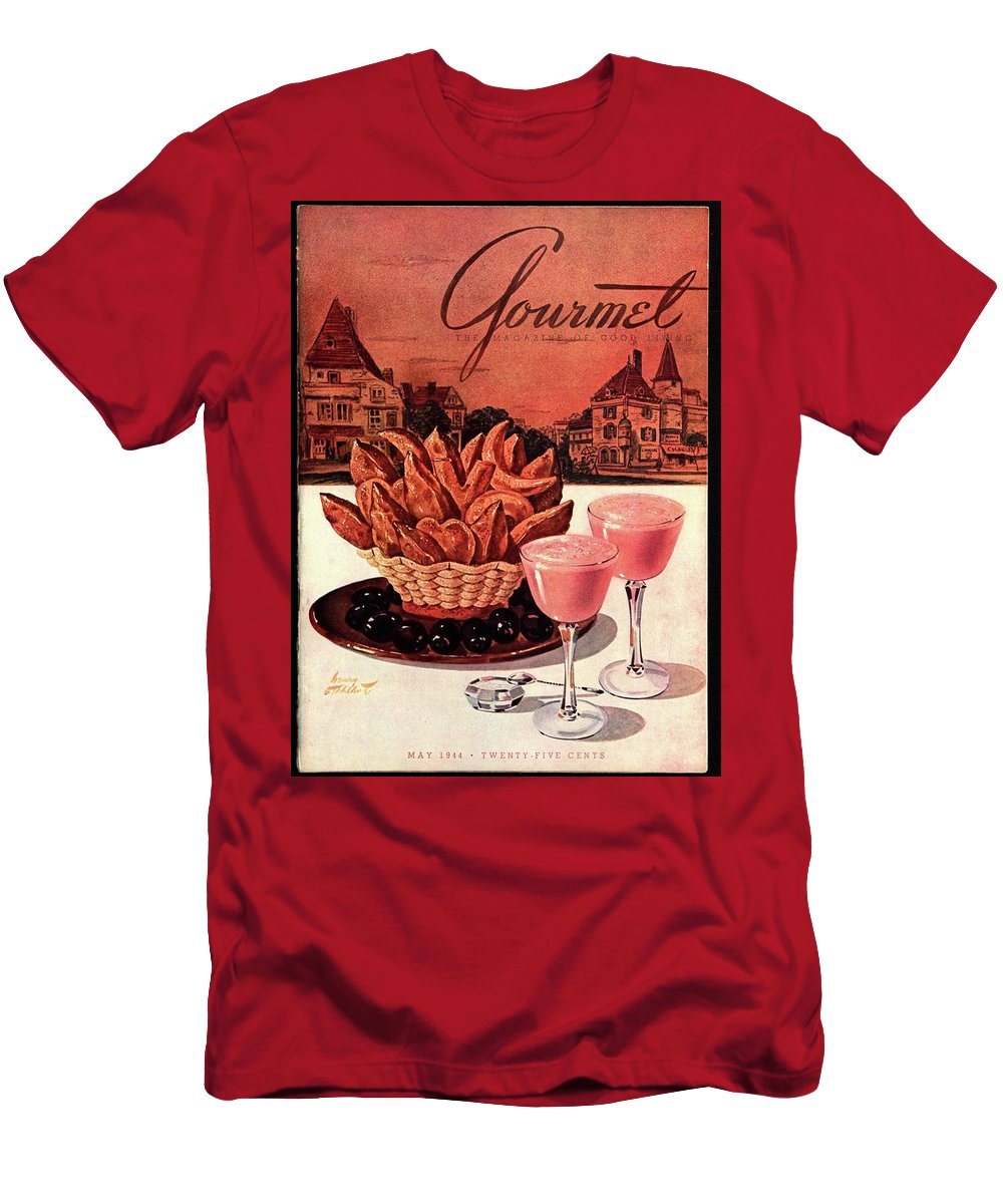 Food Men's T-Shirt (Athletic Fit) featuring the photograph Gourmet Cover Featuring A Basket Of Potato Curls by Henry Stahlhut