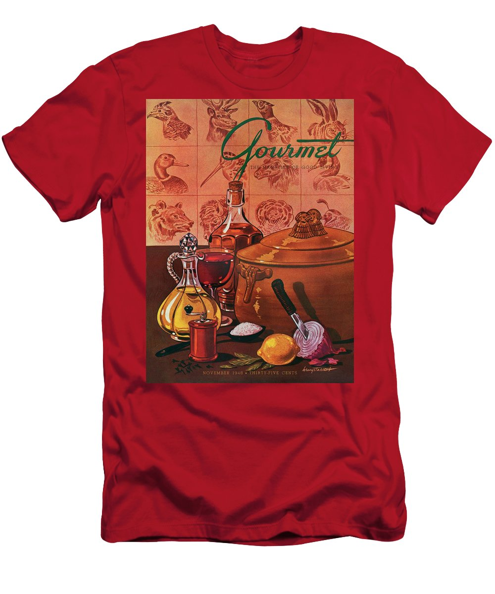 Illustration Men's T-Shirt (Athletic Fit) featuring the photograph Gourmet Cover Featuring A Casserole Pot by Henry Stahlhut
