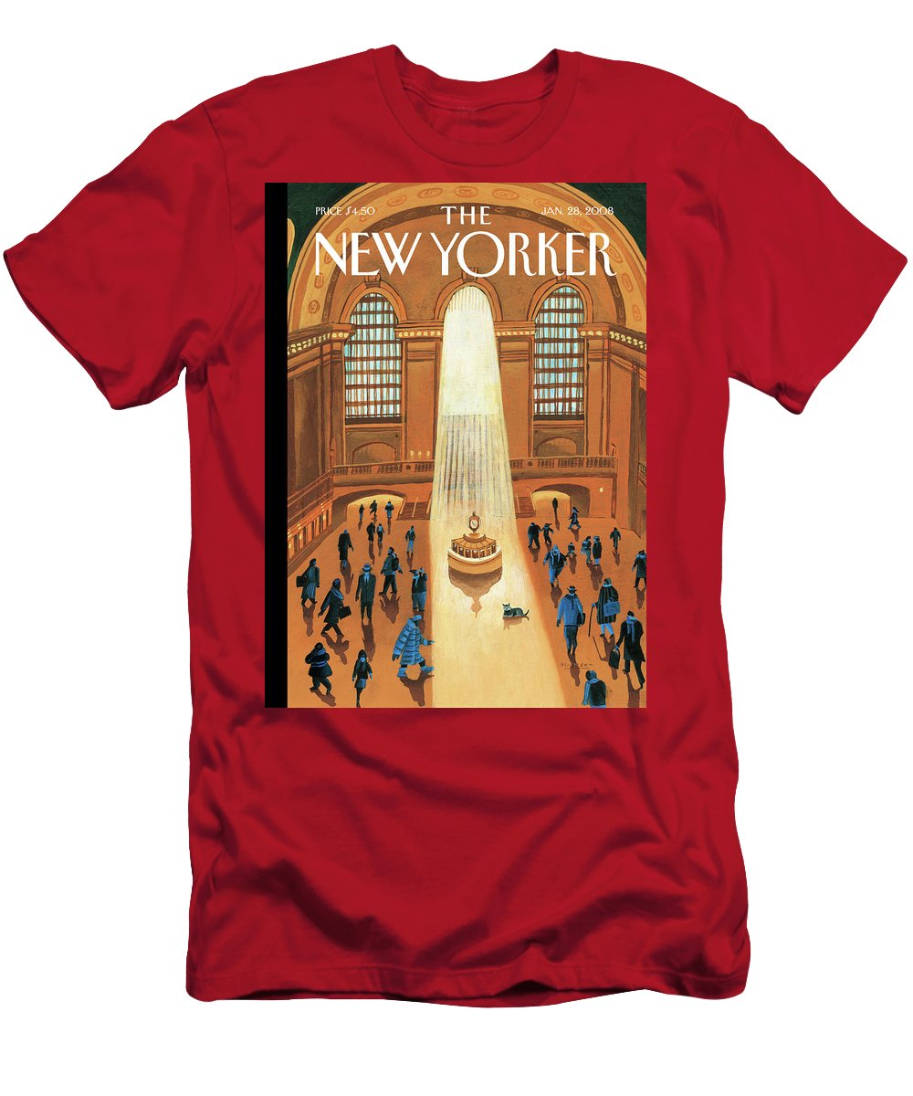 Grand Central Station T-Shirt featuring the painting Winter Pleasures by Mark Ulriksen