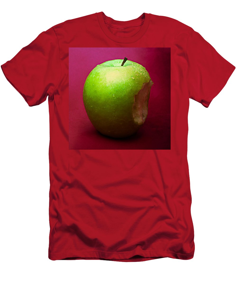 Apple Men's T-Shirt (Athletic Fit) featuring the photograph Green Apple Nibbled 1 by Alexander Senin