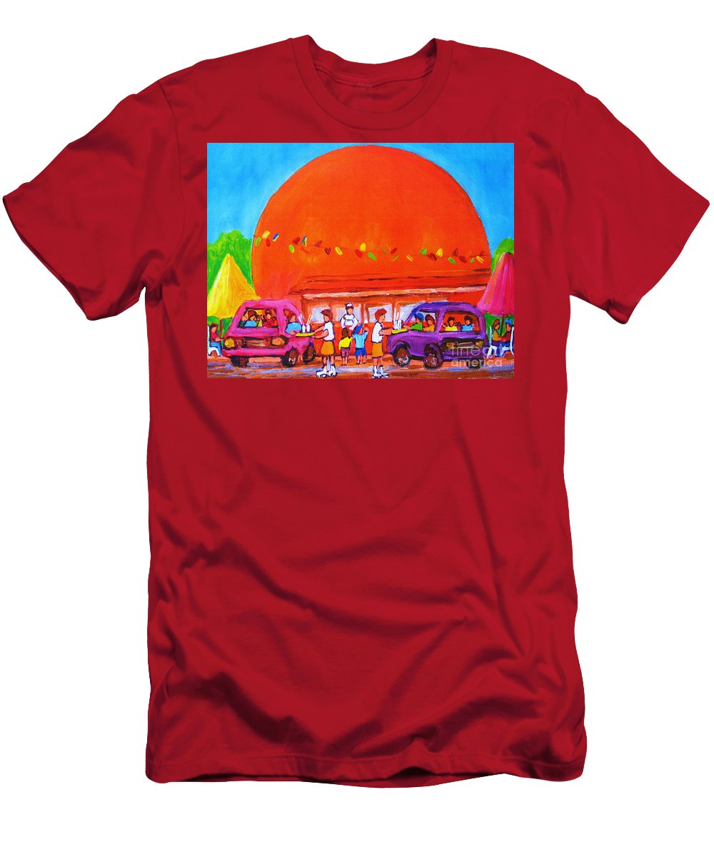 Montreal Men's T-Shirt (Athletic Fit) featuring the painting Happy Days At The Big Orange by Carole Spandau