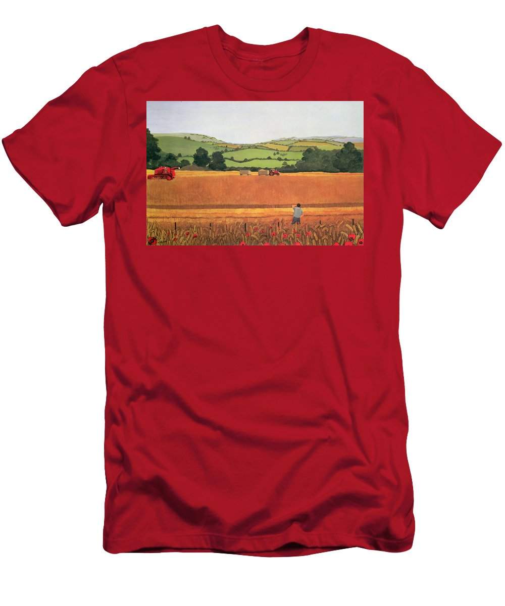 Tractor Combine Harvester Sheaves Poppy Men's T-Shirt (Athletic Fit) featuring the photograph Harvesting In The Cotswolds by Maggie Rowe
