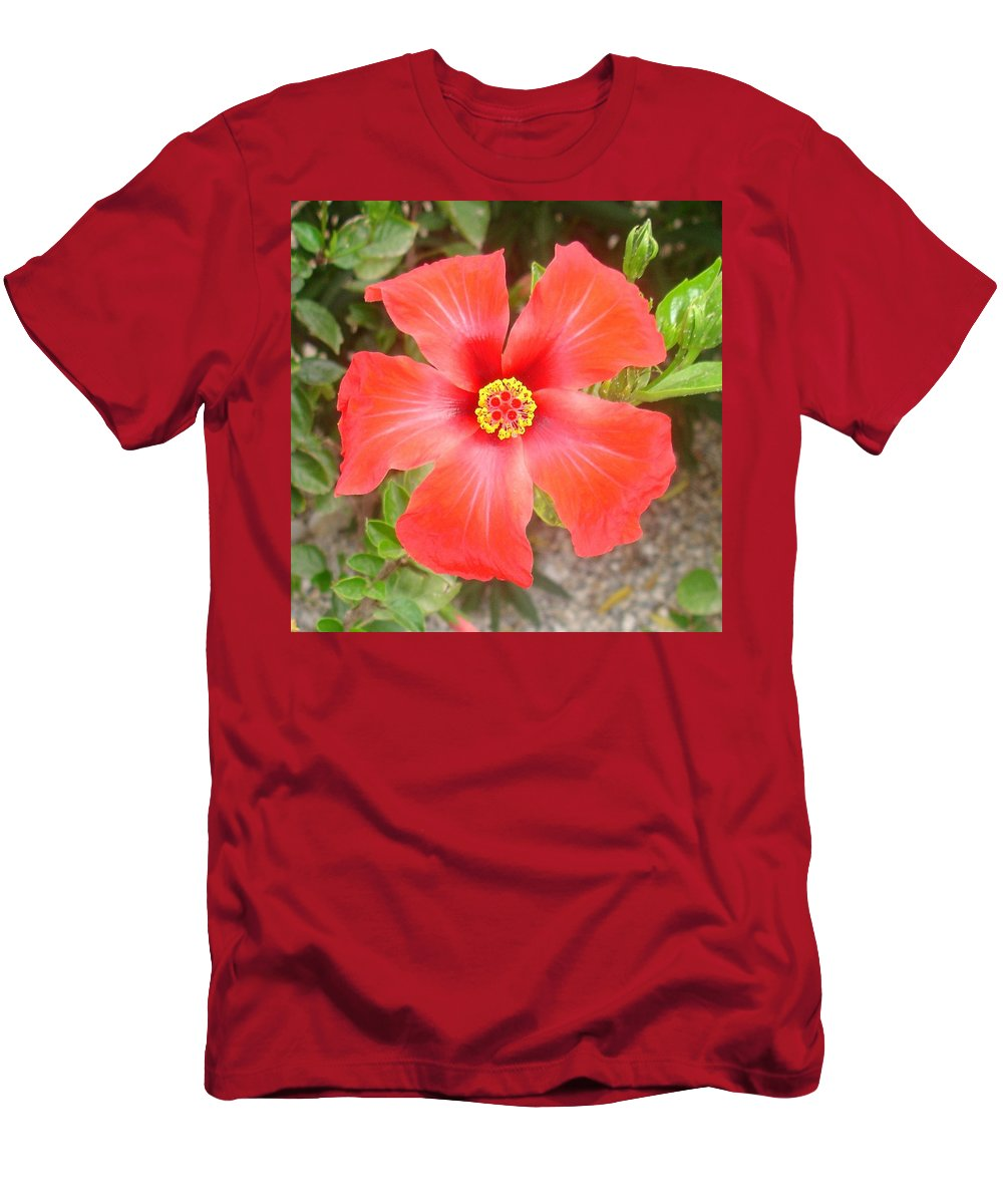 Hibiscus Men's T-Shirt (Athletic Fit) featuring the photograph Head On Shot Of A Red Tropical Hibiscus Flower by Taiche Acrylic Art