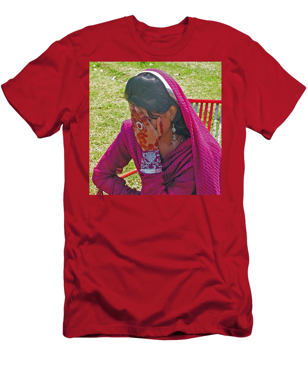 Expressive Men's T-Shirt (Athletic Fit) featuring the photograph Henna Hands 2 by Lenore Senior