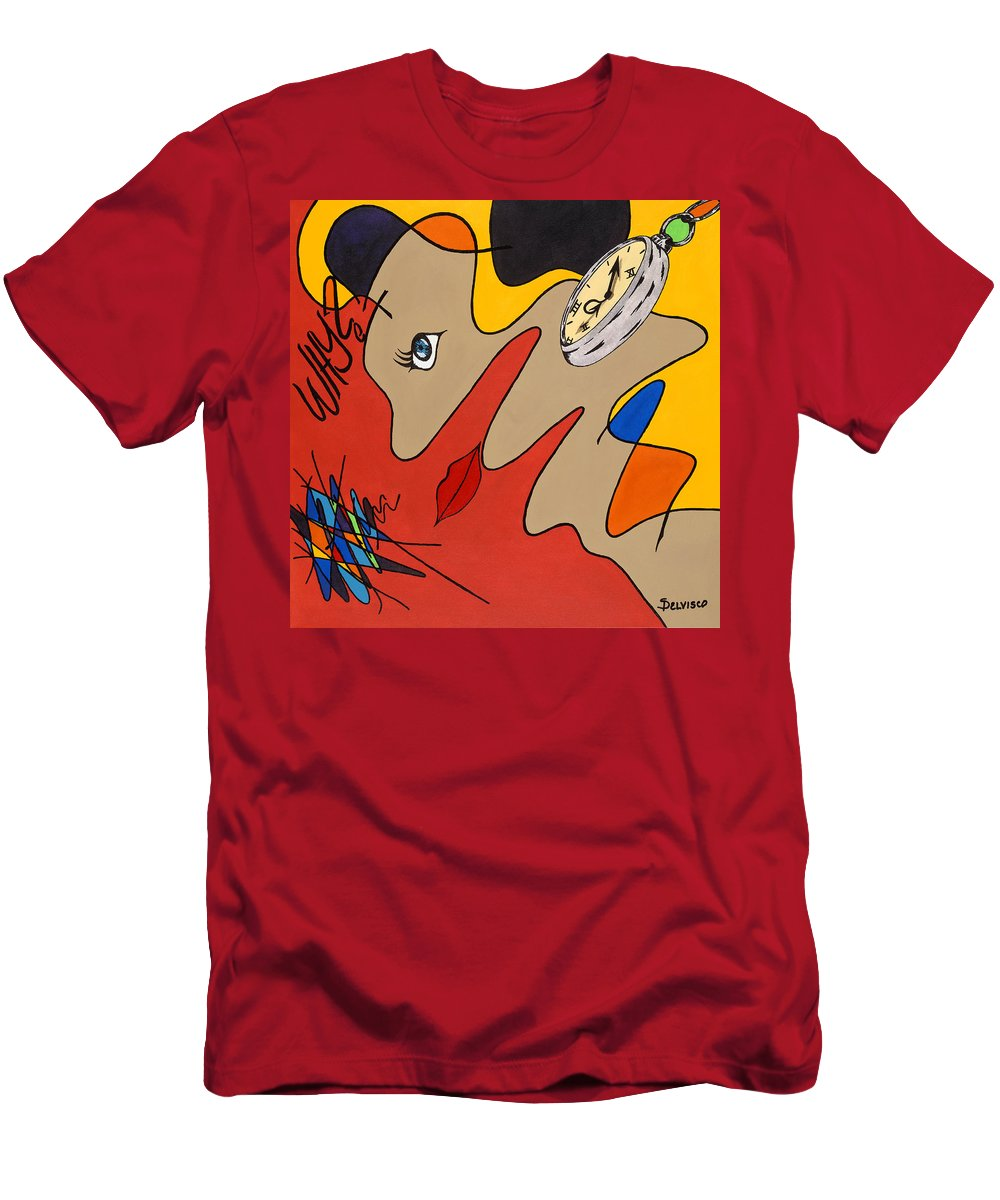 Time Men's T-Shirt (Athletic Fit) featuring the painting Her Own World by Salvadore Delvisco