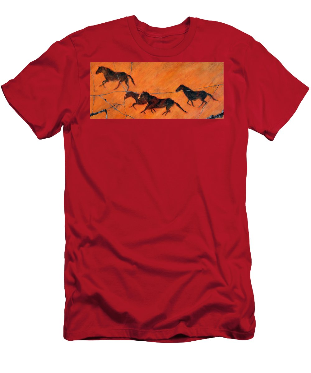 Horse Men's T-Shirt (Athletic Fit) featuring the painting High Desert Horses - Study No. 1 by Steve Bogdanoff