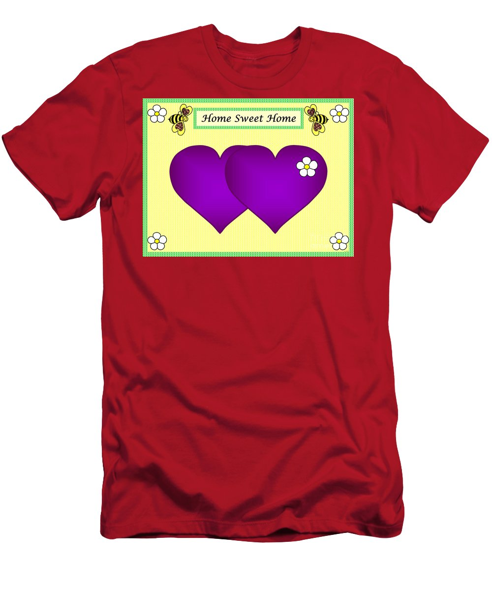 Home Sweet Home Men's T-Shirt (Athletic Fit) featuring the digital art Home Sweet Home Purple Hearts 1 by Geraldine Cote