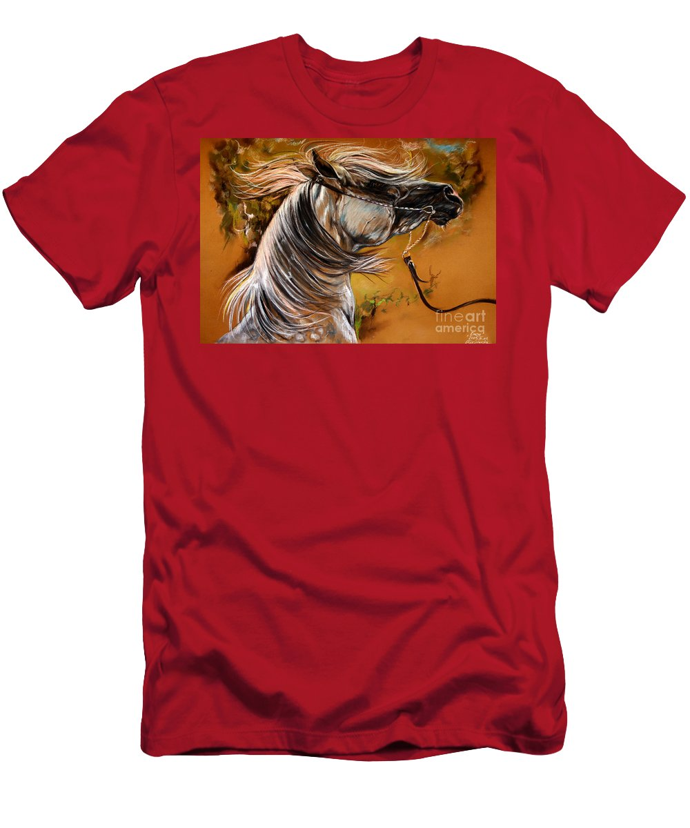 Horse Men's T-Shirt (Athletic Fit) featuring the drawing Hot Temper by Angel Ciesniarska