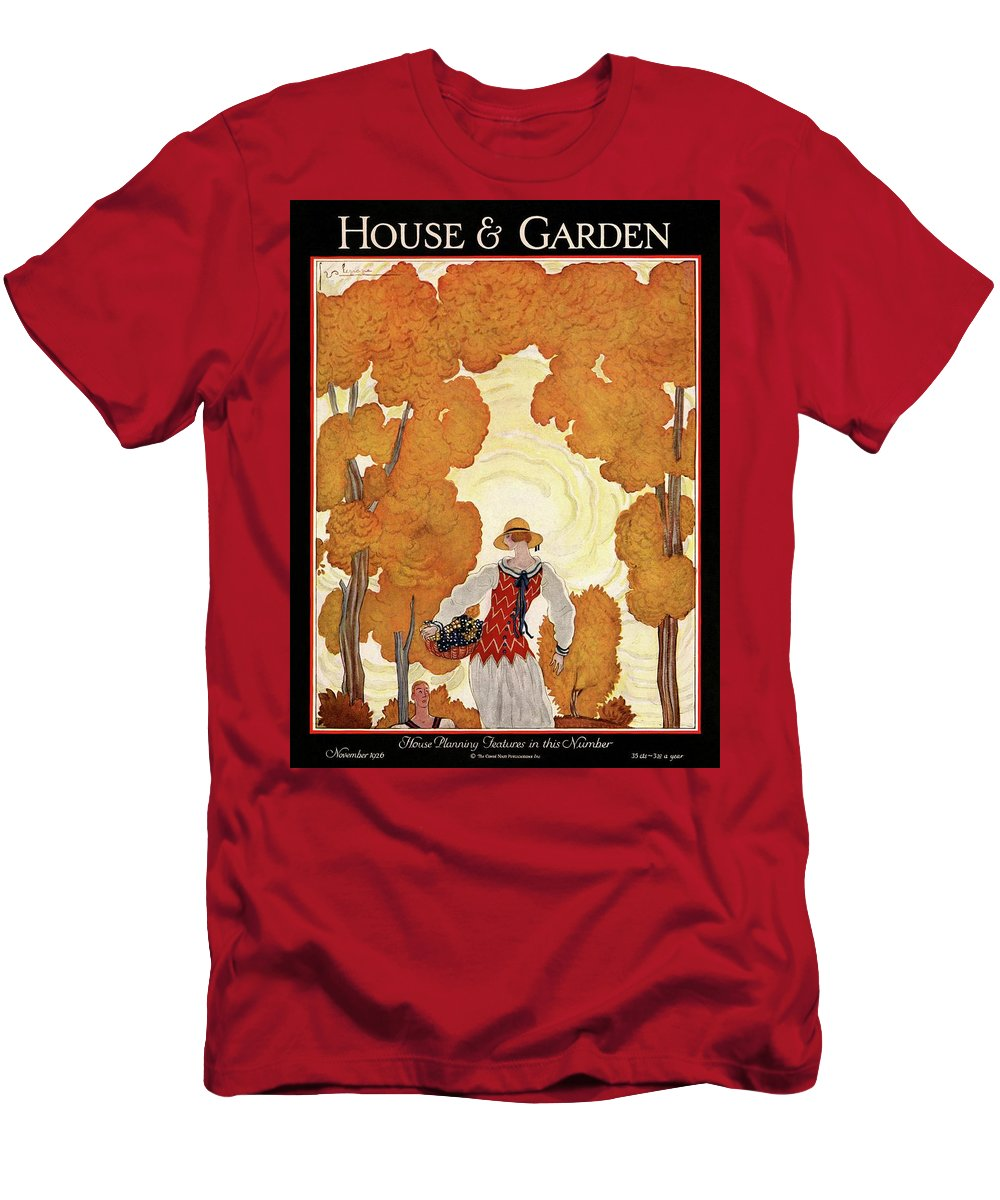 House And Garden Men's T-Shirt (Athletic Fit) featuring the photograph House And Garden House Planning Number Cover by Georges Lepape
