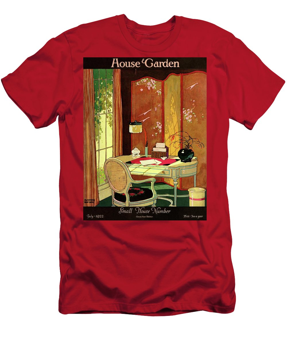 House And Garden Men's T-Shirt (Athletic Fit) featuring the photograph House And Garden Small House Number by Clayton Knight