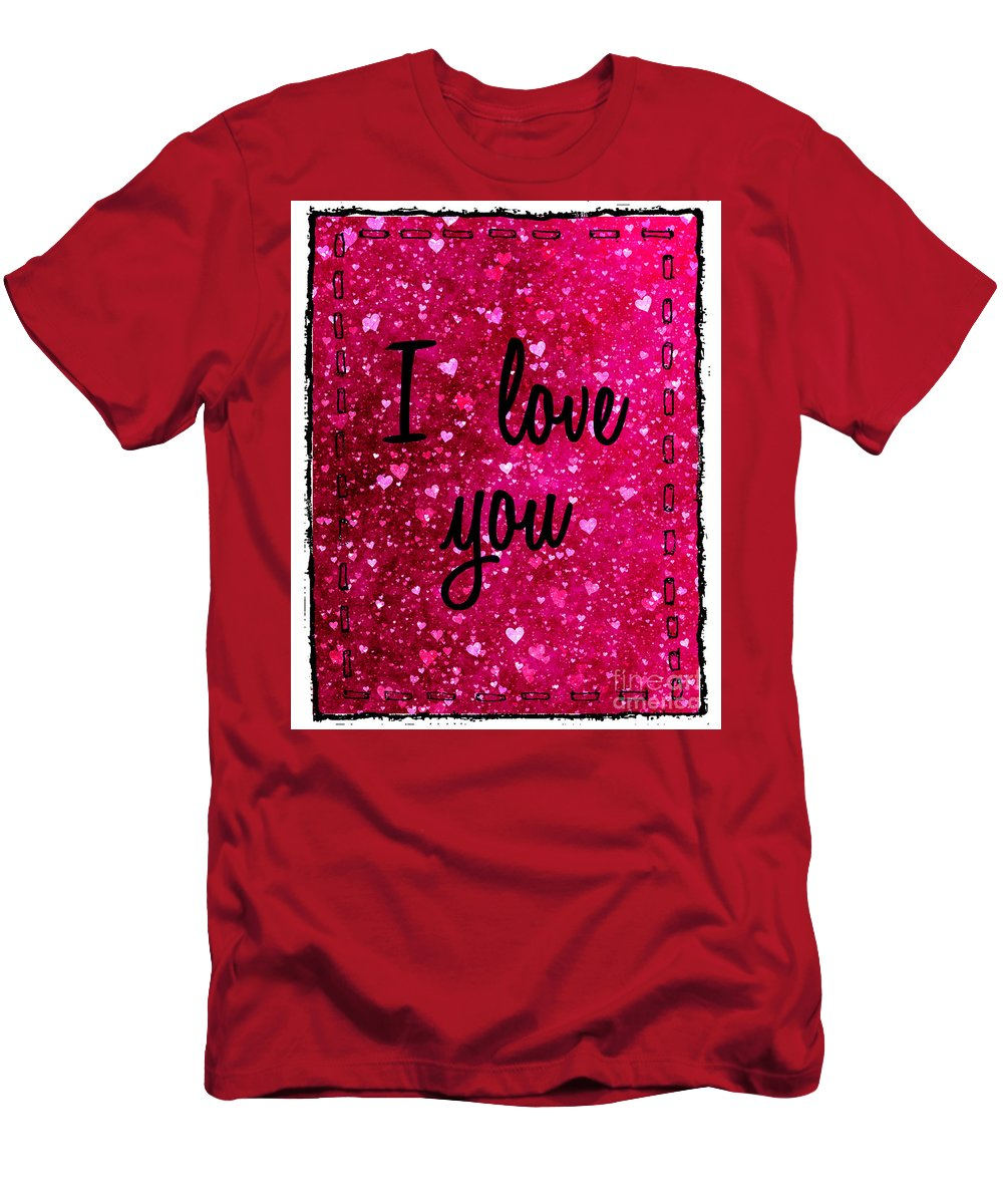 Pink Men's T-Shirt (Athletic Fit) featuring the photograph I Love You Stitched by Nina Ficur Feenan