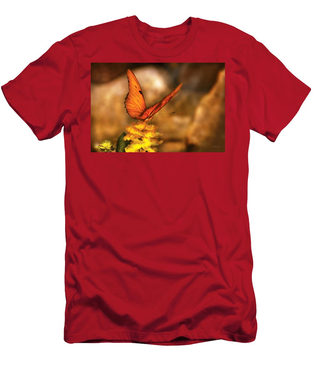 Julia Heliconian Men's T-Shirt (Athletic Fit) featuring the photograph Insect - Butterfly - Just A Bit Of Orange by Mike Savad