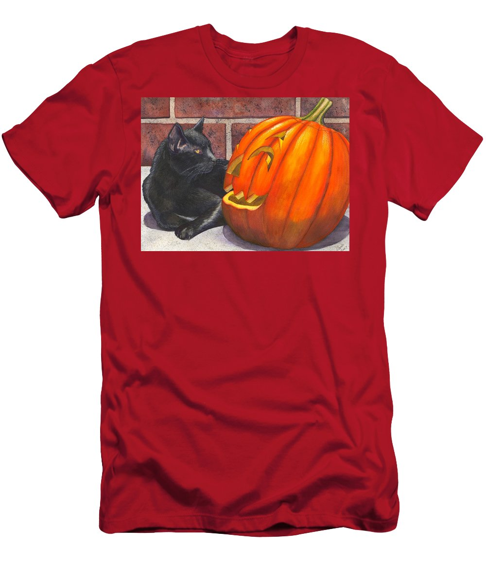 Cat Men's T-Shirt (Athletic Fit) featuring the painting Inside Joke by Catherine G McElroy