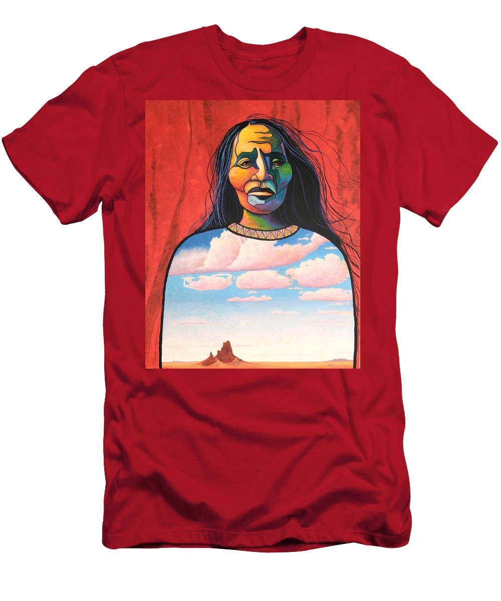 Native American Men's T-Shirt (Athletic Fit) featuring the painting Into Her Spirit by Joe Triano