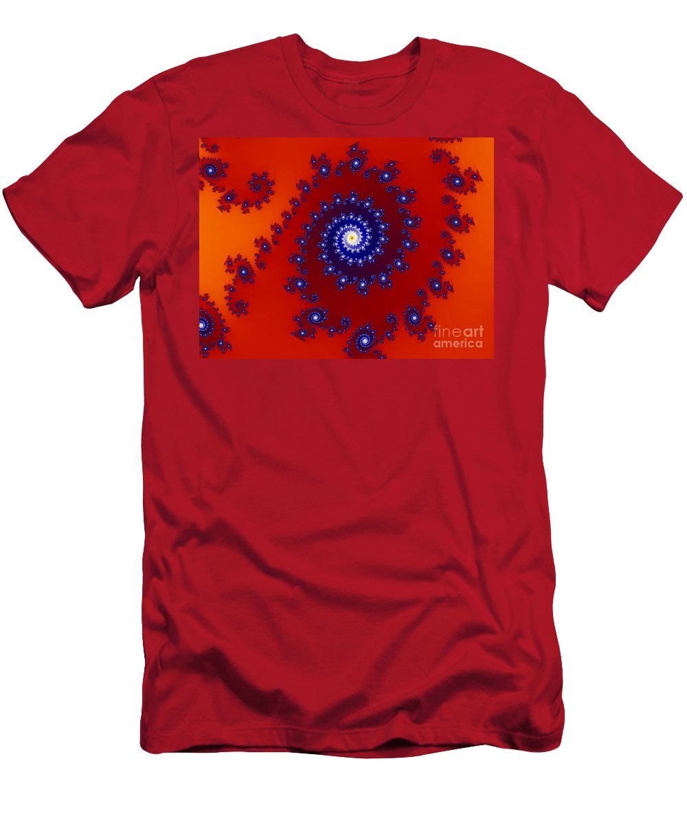 Abstract Men's T-Shirt (Athletic Fit) featuring the photograph Intricate Red Blue Fractal Based On Julia Set by Stephan Pietzko