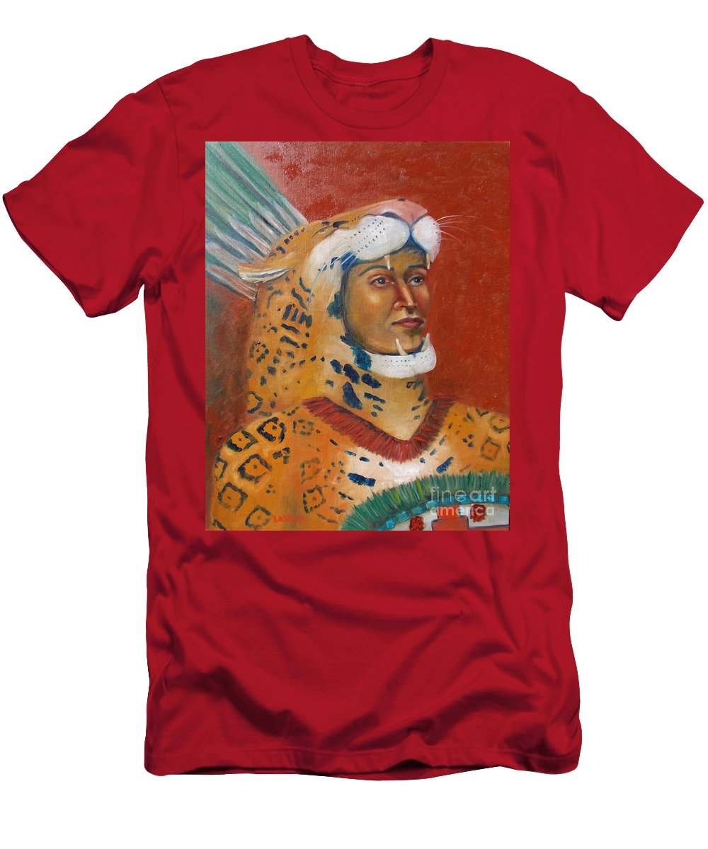Aztec Men's T-Shirt (Athletic Fit) featuring the painting Jaguar Knight Popoca by Lilibeth Andre