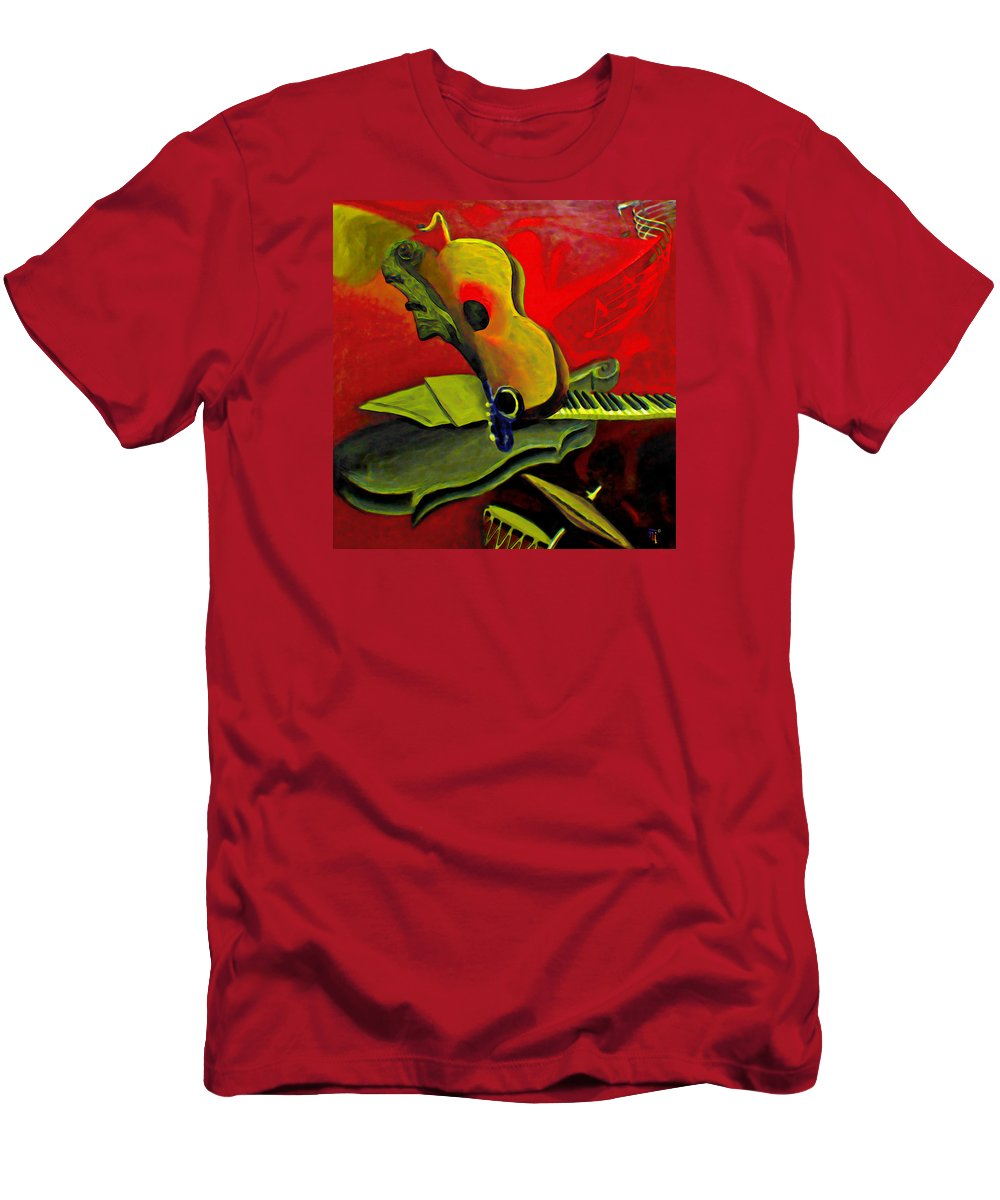 Abstract Men's T-Shirt (Athletic Fit) featuring the painting Jazz Infusion by Fli Art