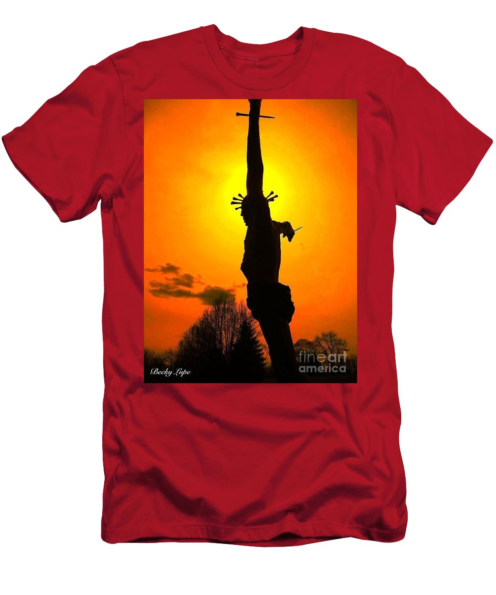 Religious Greeting Card Men's T-Shirt (Athletic Fit) featuring the photograph Jesus In Sunset 1 Hope by Becky Lupe