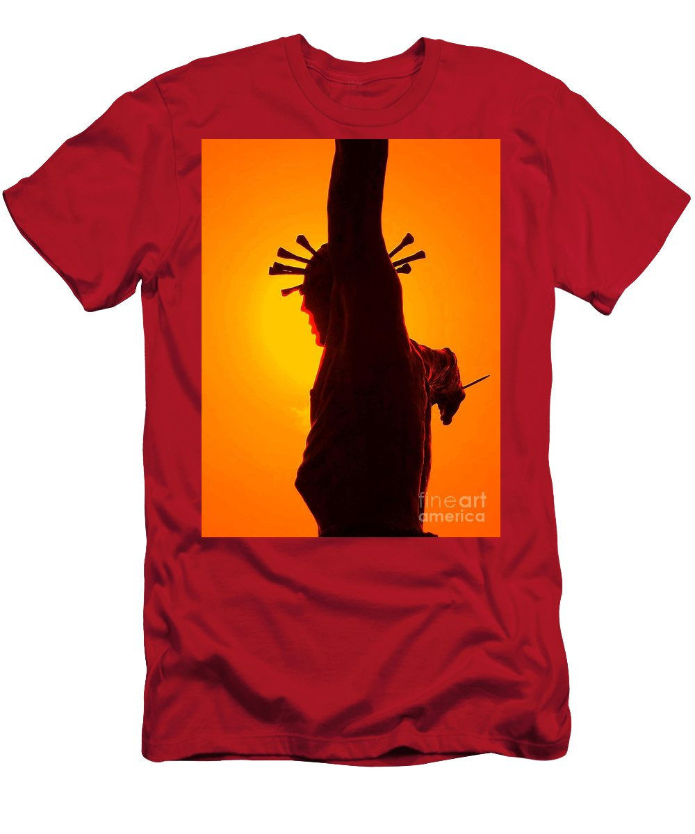 Religious Greeting Card Men's T-Shirt (Athletic Fit) featuring the photograph Jesus In Sunset 2 Faith by Becky Lupe