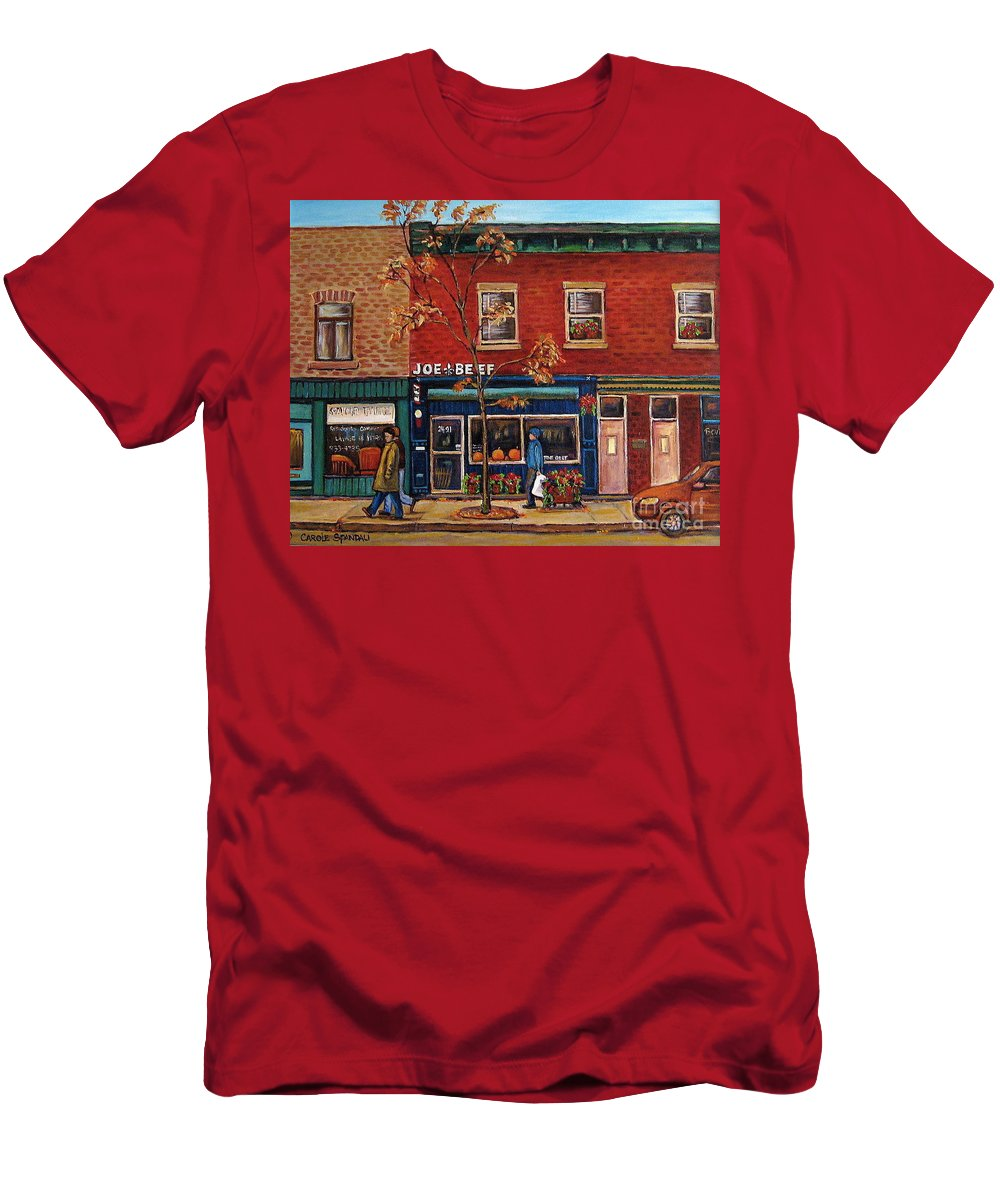 Montreal Men's T-Shirt (Athletic Fit) featuring the painting Joe Beef Restaurant Montreal by Carole Spandau