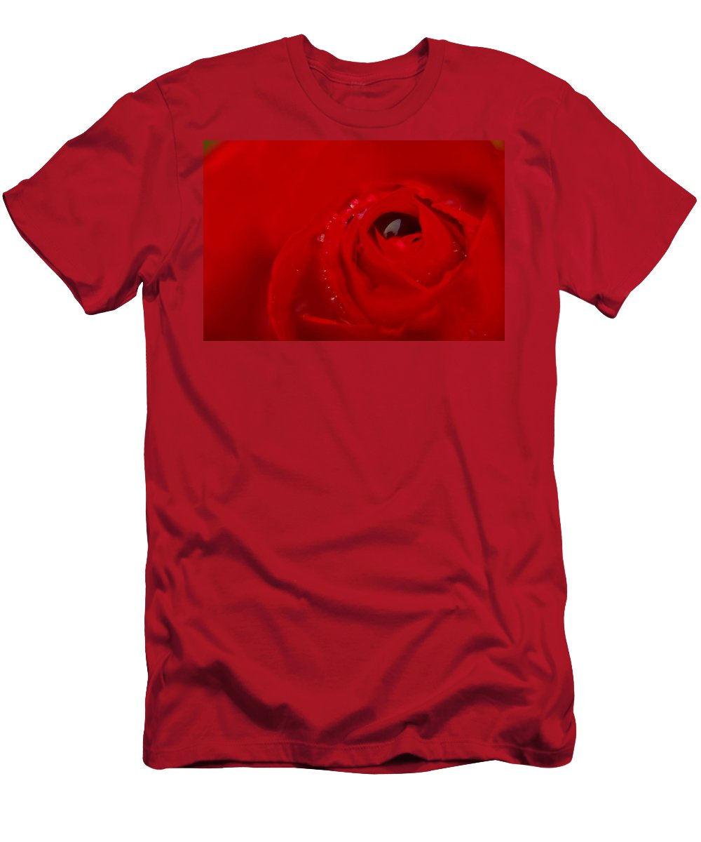Roses Men's T-Shirt (Athletic Fit) featuring the photograph Just A Wet Rose by Jeff Swan