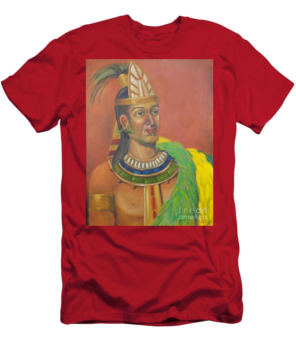 Aztec Men's T-Shirt (Athletic Fit) featuring the painting King Topiltzin by Lilibeth Andre