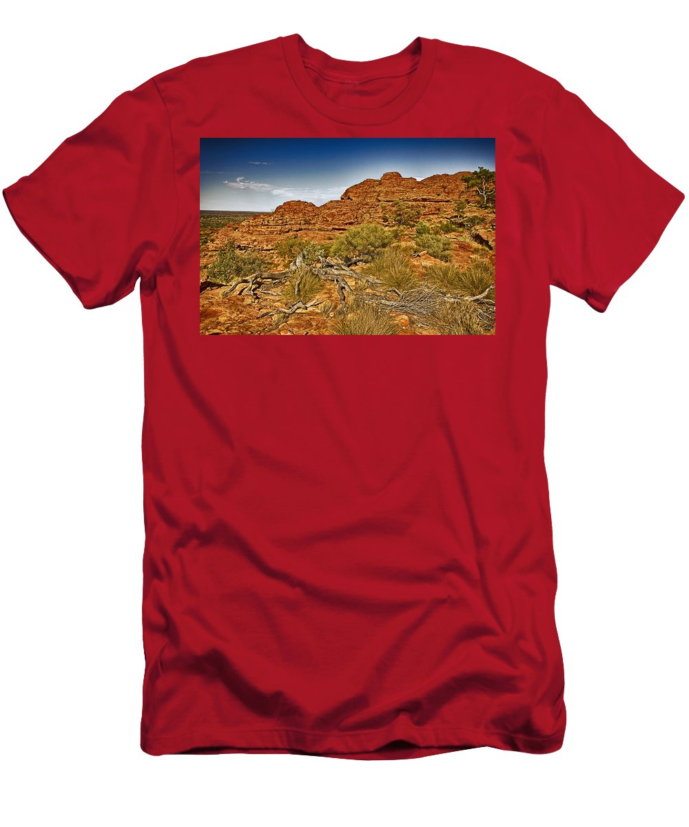 Kings Canyon Men's T-Shirt (Athletic Fit) featuring the photograph Kings Canyon-the Rim V2 by Douglas Barnard