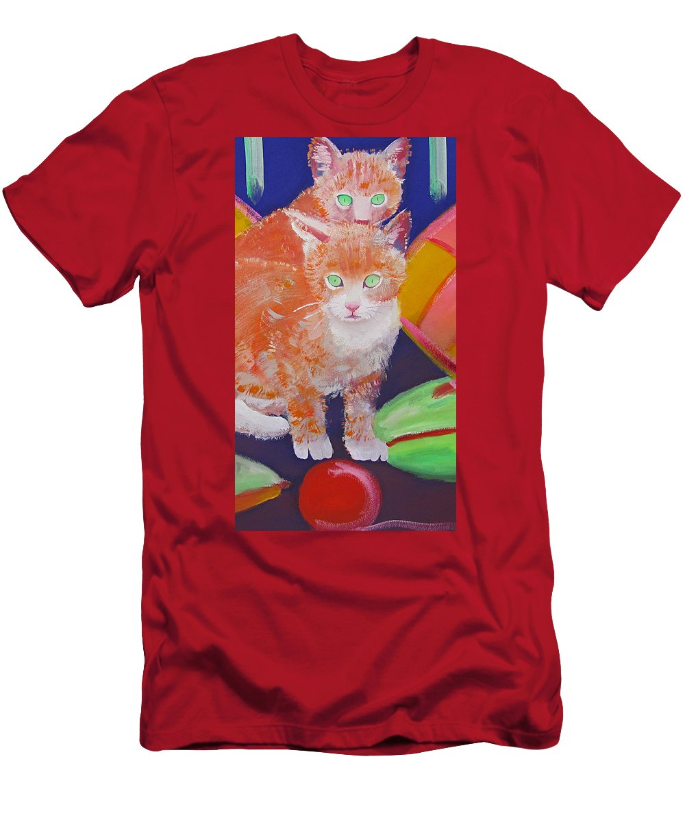 Kittens Men's T-Shirt (Athletic Fit) featuring the painting kittens With A Ball of Wool by Charles Stuart
