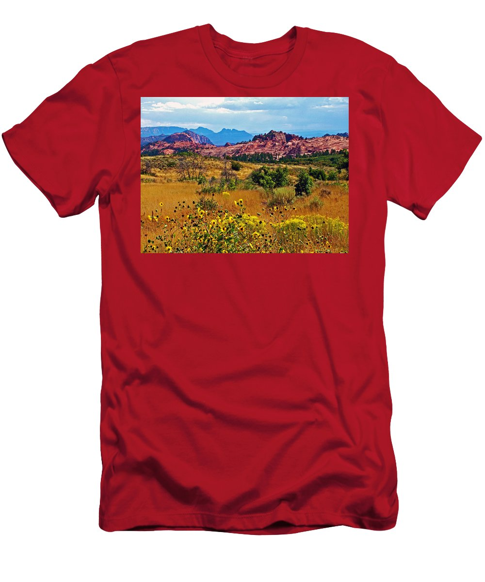 Kolob Terrace Road In Zion National Park Men's T-Shirt (Athletic Fit) featuring the photograph Kolob Terrace Road In Zion National Park-utah by Ruth Hager
