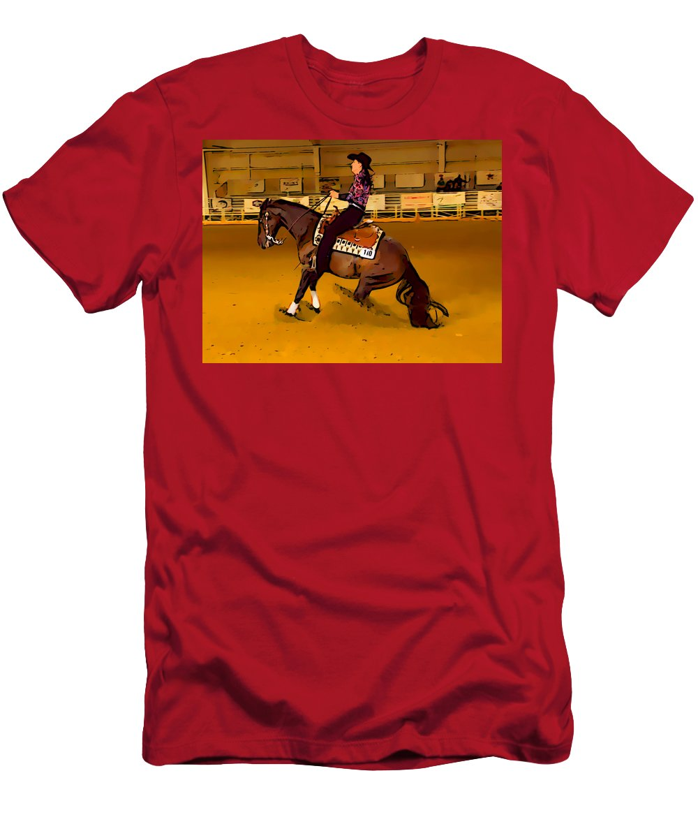 Horse Men's T-Shirt (Athletic Fit) featuring the photograph Lady Slide by Alice Gipson