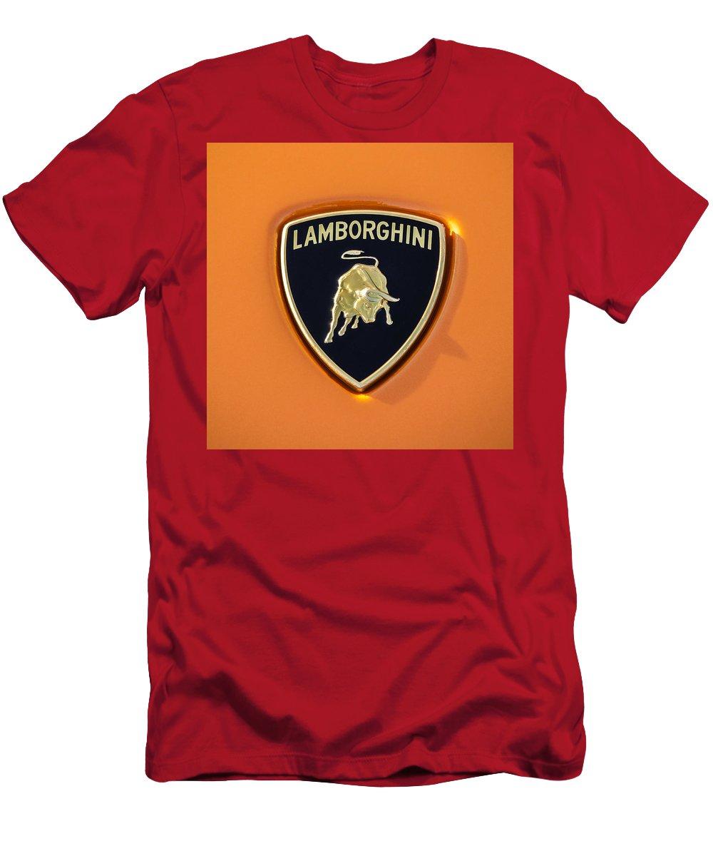 Lamborghini Emblem T-Shirt featuring the photograph Lamborghini Emblem -0525c55 by Jill Reger