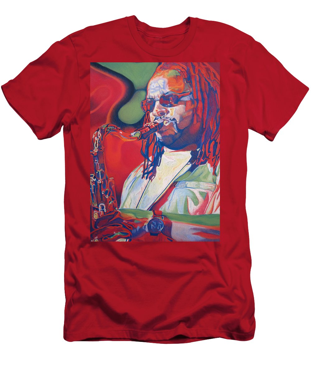 Leroi Moore Men's T-Shirt (Athletic Fit) featuring the drawing Leroi Moore Colorful Full Band Series by Joshua Morton