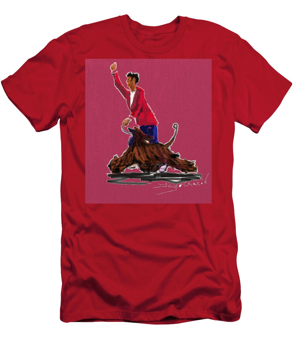 Dog Show Scene Men's T-Shirt (Athletic Fit) featuring the painting Lets Tango In Red by Terry Chacon