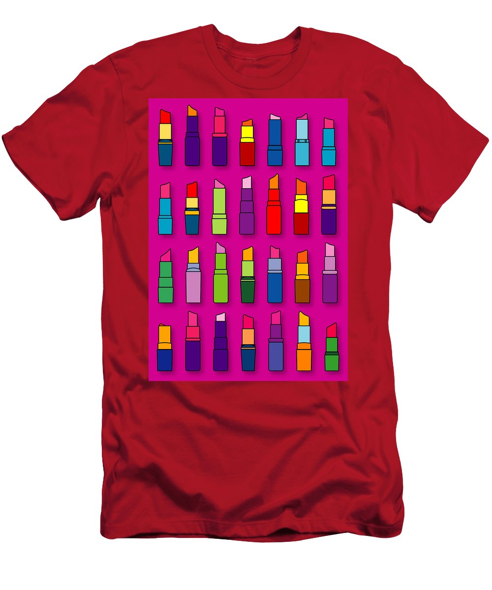 Lipsticks Men's T-Shirt (Athletic Fit) featuring the digital art Lipsticks Pattern by Thisis Notme