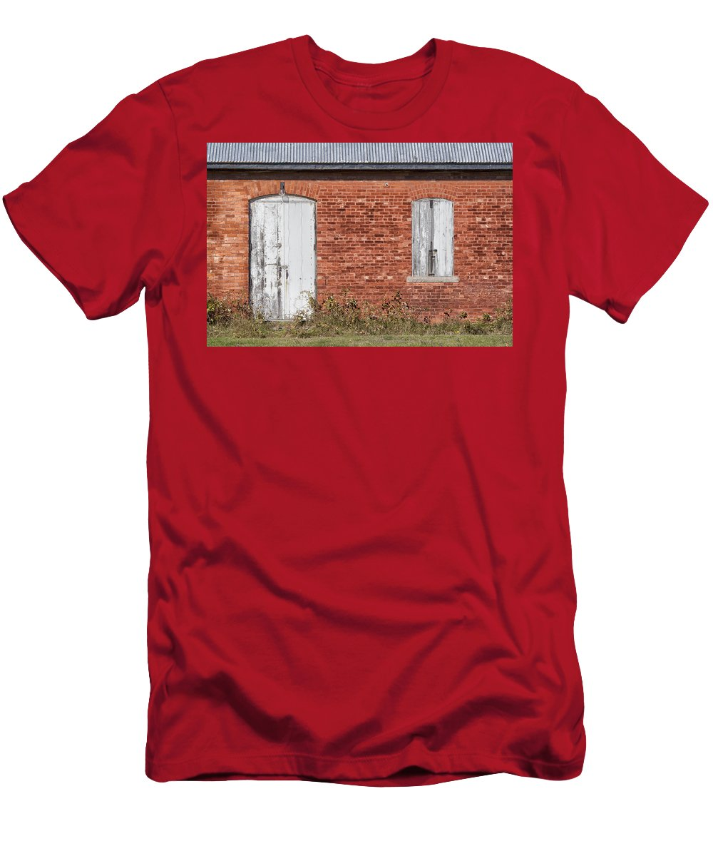 Door Men's T-Shirt (Athletic Fit) featuring the photograph Locked And Shuttered by Debby Richards
