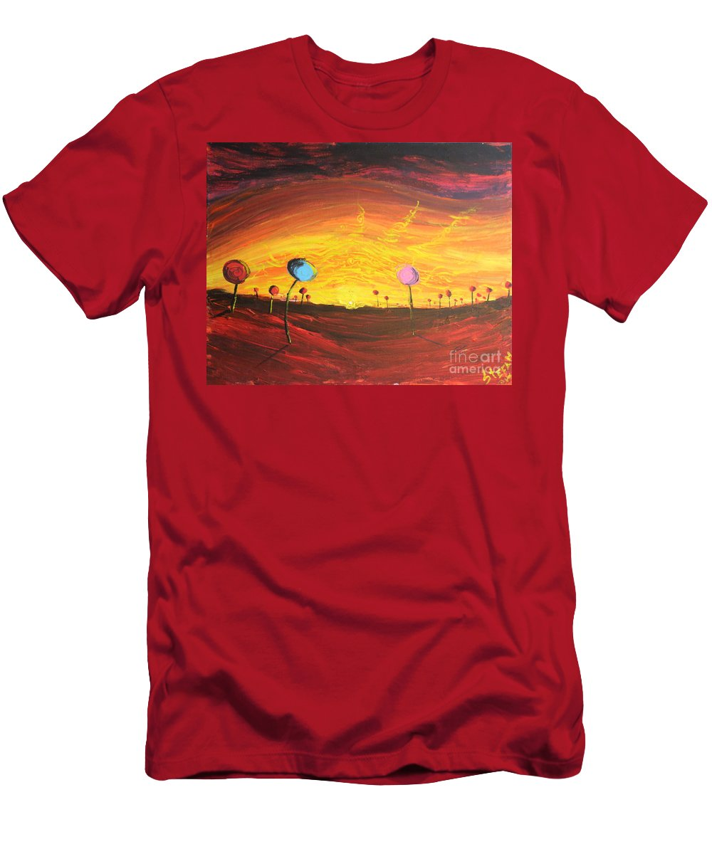 Fantasy Men's T-Shirt (Athletic Fit) featuring the painting Lollipop Land by Stefan Duncan