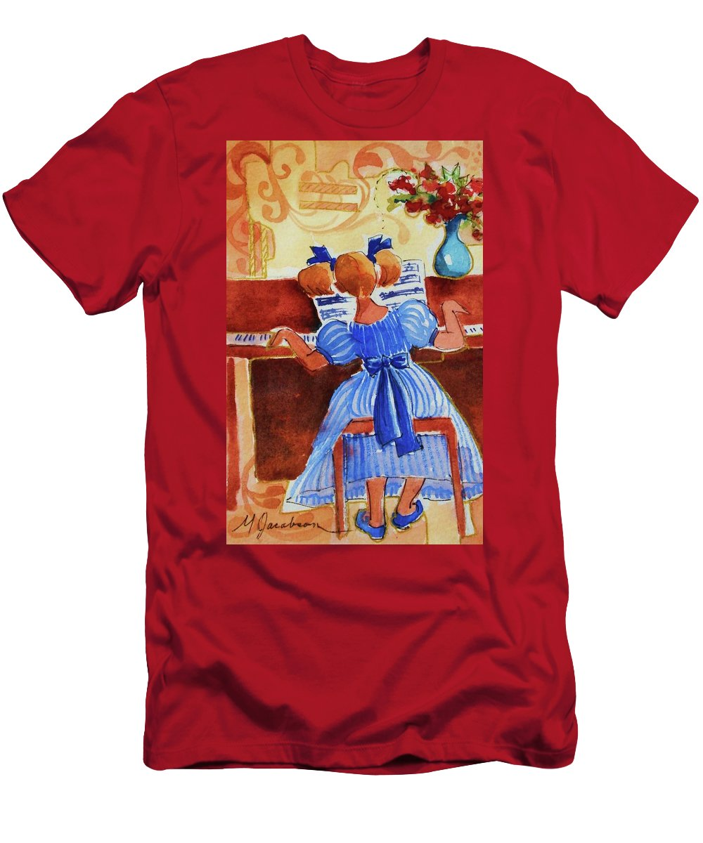 Girl Men's T-Shirt (Athletic Fit) featuring the painting Love A Piano 3 by Marilyn Jacobson