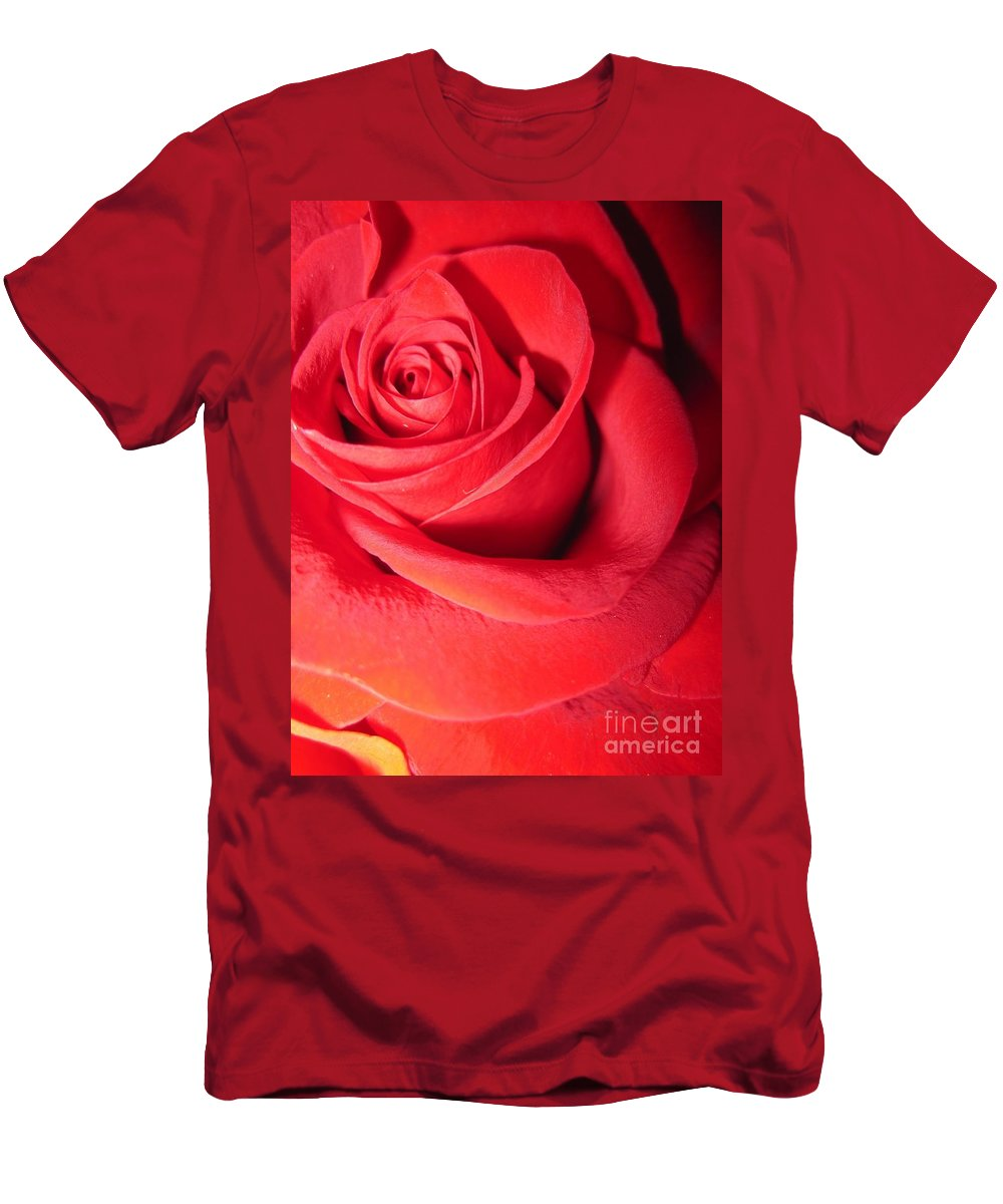 Floral Men's T-Shirt (Athletic Fit) featuring the photograph Luminous Red Rose 6 by Tara Shalton