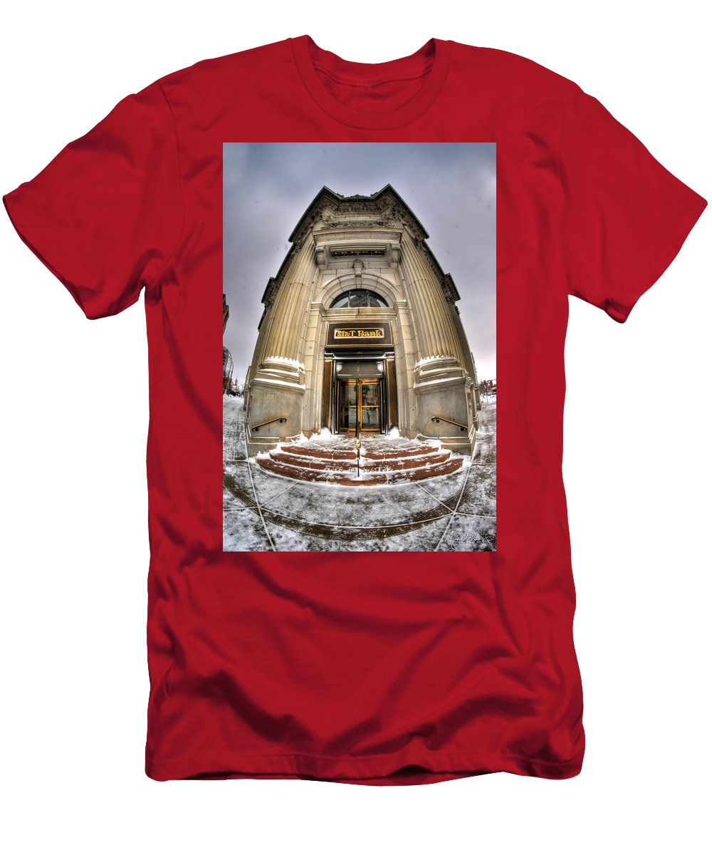 M&t Bank Men's T-Shirt (Athletic Fit) featuring the photograph M And T Bank Downtown Buffalo Ny 2014 V2 by Michael Frank Jr